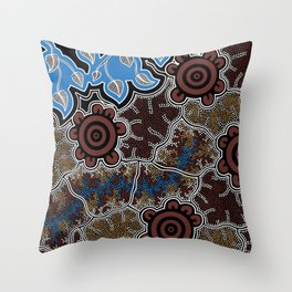 Water Lilly Dreaming - Authentic Aboriginal Art Throw Pillow