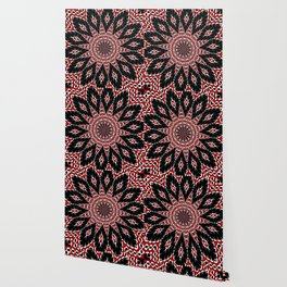 Black Red and White Bold Floral Kaleidoscope Wallpaper