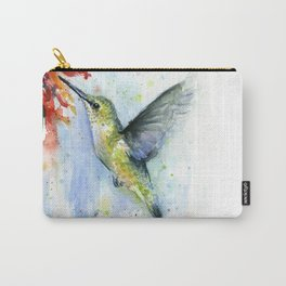 Hummingbird Red Flower Watercolor Bird Carry-All Pouch