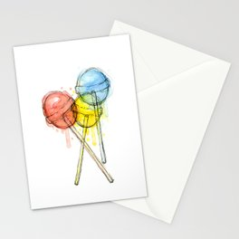 Lollipop Red Blue Yellow Candy Food Watercolor Stationery Cards