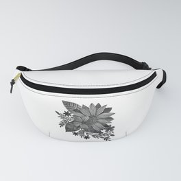 Watercolor sunflowers - black and white Fanny Pack