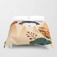 geisha Duvet Covers featuring Geisha  by Ashley Hay