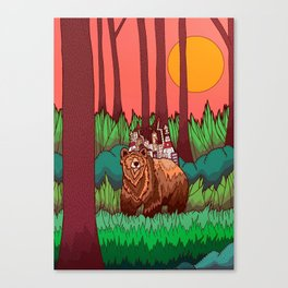 The Forest and The Bear Canvas Print