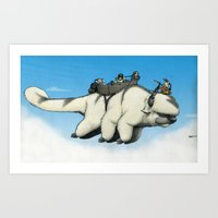 appa Art Prints featuring Appa in flight by Doodle of Boredom