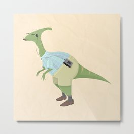 Hipster Dinosaur jams to some indie tunes on his walkman Metal Print