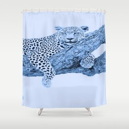 Blue Leopard Shower Curtain