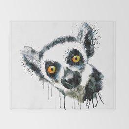 Lemur Head Throw Blanket