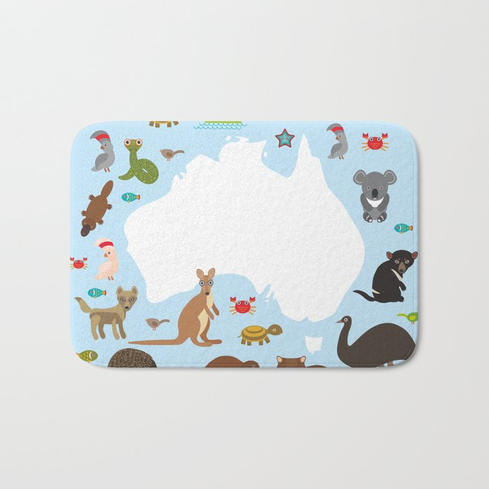 map of Australia. Echidna Platypus ostrich Emu Tasmanian devil Cockatoo parrot Wombat snake turtle Bath Mat