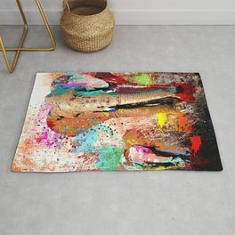 African Elephant Family Painting Rug