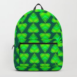 Pattern of green and lime hearts and iridescent stripes. Backpack