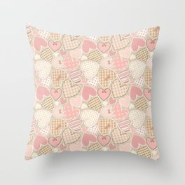 Patchwork Hearts Pattern Throw Pillow