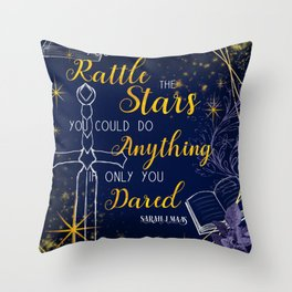 Rattle the stars in blue and gold Throw Pillow