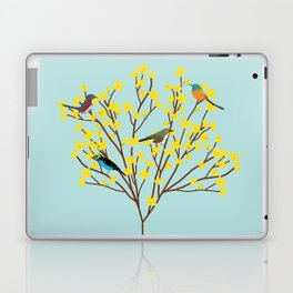 birds on forsythia bush designed for bird and nature lovers Laptop & iPad Skin