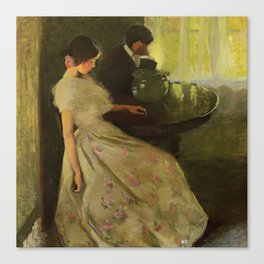 The Tiff, No. 2 romantic portrait painting by Florence Carlyle Canvas Print