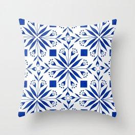Delft Blue Floral Tile Pattern Throw Pillow