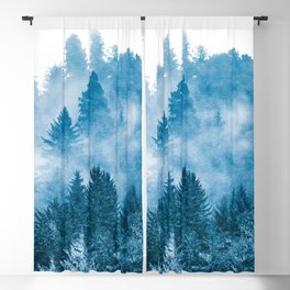 Blue Foggy Forest Adventure #46 Blackout Curtain