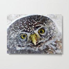 Brown Owl Watercolor Metal Print