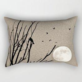 Birds in Trees Full Moon Mandala Sky Tan Black Rectangular Pillow