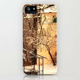 Wintry mood at the castle garden of Laupheim iPhone Case