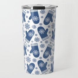 Wintery Blue Snowflake Mittens Travel Mug