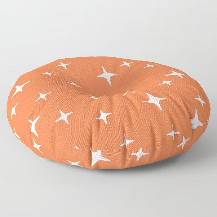 Mid Century Modern Star Pattern 443 Orange Floor Pillow