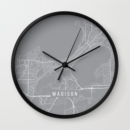 Madison Map, Wisconsin USA - Pewter Wall Clock