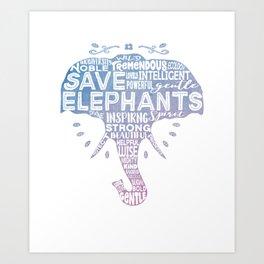 Save Elephants - Watercolor Word Cloud Elephant Silhouette Art Print