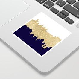 Modern navy blue white faux gold glitter brushstrokes Sticker