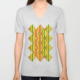 Colorful Stripes and Curls Unisex V-Neck