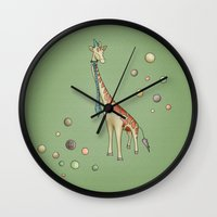 giraffe Wall Clocks featuring Giraffe by Catru