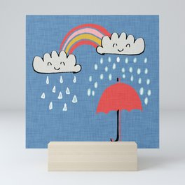 April showers rainbow Clouds Blue #nursery Mini Art Print