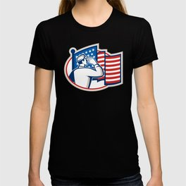 American Soldier Salute Flag Retro T-shirt