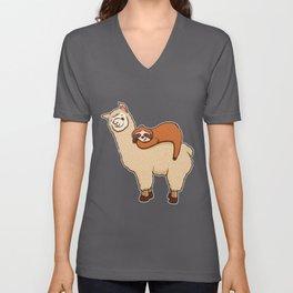 Cute & Funny Sloth Sleeping on Llama Friend Unisex V-Neck