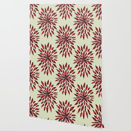 Abstract Red Flower Doodle Wallpaper