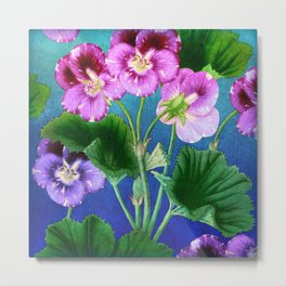 Pansies on Blue Metal Print