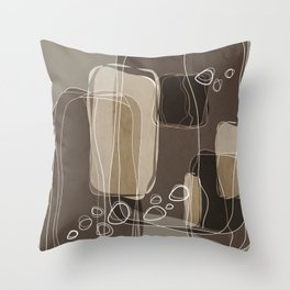 Retro Block Design in Ivory and Taupe Throw Pillow