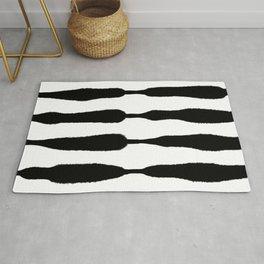 Midcentury Organic Stripes, Black and White Palette Rug
