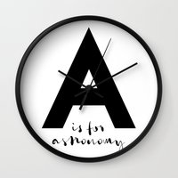 astronomy Wall Clocks featuring A is for Astronomy by Pan Lis