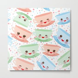 Cute blue pink green Kawai cup, coffee tea with pink cheeks and winking eyes, polka dot background Metal Print