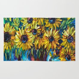 SUNFLOWERS — Palette knife Rug