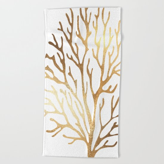 Gold Coral Beach Towel