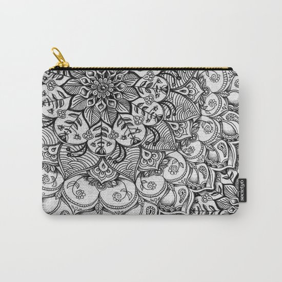Shades of Grey - mono floral doodle Carry-All Pouch
