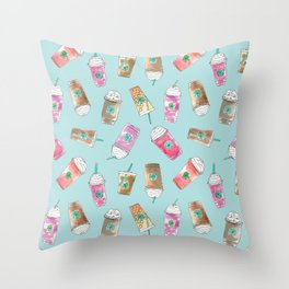 Coffee Crazy Toss in Blueberry Throw Pillow