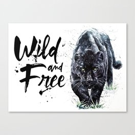 Panther watercolor painting predator animals puma jaguar wild & fre Canvas Print