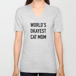 World's Okayest Cat Mom Black Typography Unisex V-Neck
