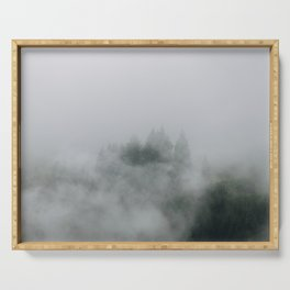 Mysterious moody foggy Forest - Landscape Photography Serving Tray
