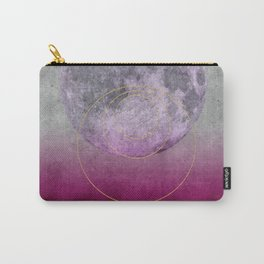 Pink Moon geometric circle mixed media Carry-All Pouch