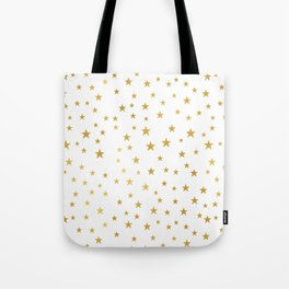 Gold Star Sprinkle on White Tote Bag