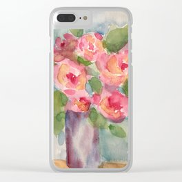 Vase of Roses Clear iPhone Case