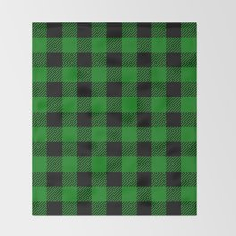 Green Buffalo Plaid Throw Blanket